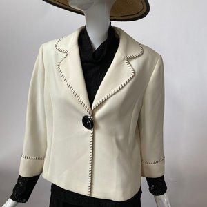 Tahari Cream Petite Sized Jacket 12P